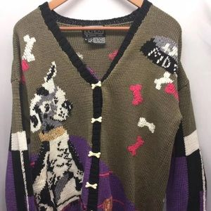 Vintage Berek Cotton Knit Dog Cardigan M
